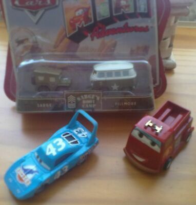 Disney Pixar 7 Cars Sarge Fillmore The King Fire Engine Sally Helicopters Game • 18.50£