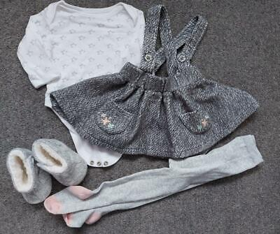 Girls 4 Piece Outfit, Bodysuit, Pinafore Dress, Tights, Bootees 0-3 Months • 4.49£