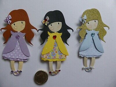 6 Assorted Little Girls Birthday Handmade Card Toppers Pretty For Mum Daughter • 4£