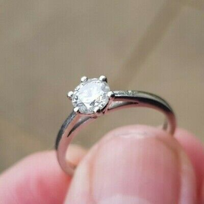 Ernest Jones Platinum 0.50 Ct Round Cut Solitaire Ring Size K1/2 • 483£