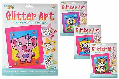 Glitter Art Set Elephant Butterfly Cat Princess Kids Craft Creative Fun • 1.99£