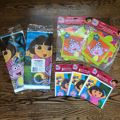 Dora The Explorer Birthday Party Supplies 7pc Lot Tablecloth Gift Bags Banner • 17.12£