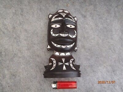 Hand Carved Black African Tribal Ebony Wood Figure /pearl Inlay/ • 5£