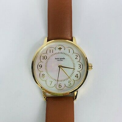 $ CDN78.69 • Buy *Kate Spade* KSW1142  Metro  Mother Of Pearl Watch With Luggage Brown Band