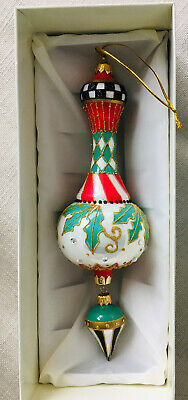 $149.95 • Buy New In Box MacKenzie-Childs 9  Holly Drop Deck The Halls Ornament