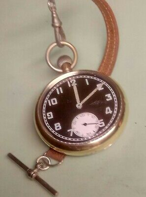WW2 BRITISH MILITARY RECORD WATCH Co. Cal 433 POCKET WATCH & LEATHER ALBERT  • 97£
