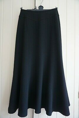 Caroline Charles Black Wool Crepe Flared Midi Skirt, Fully Lined, UK10 • 35£