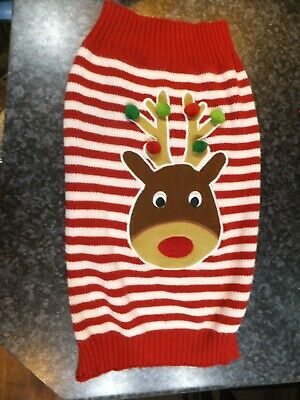 Pets At Home Dog's Christmas Jumper Size Large, Red Striped, Reindeer • 5.50£