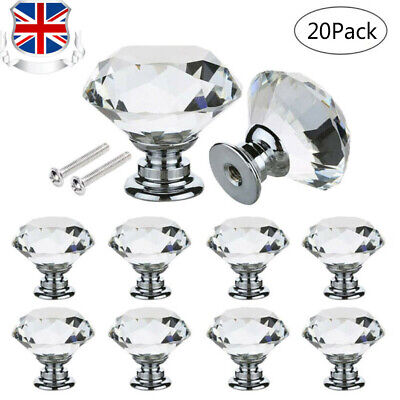 New 12x Clear Diamond Crystal Glass Door Knobs Drawer Wardrobe Cabinet Handles U • 6.49£