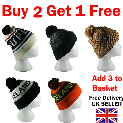 £2.29 • Buy Mens Ladies Knitted Woolly Winter Beanie Hat Cap Beanie Knot Baby Cap Insulated