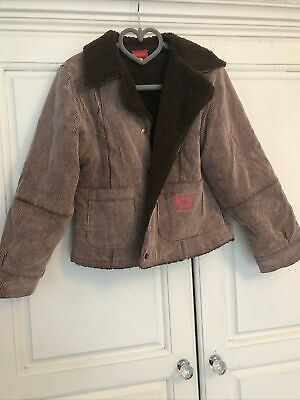 Girls Brown Fleece Lined Coat Cord Age 6 Marese • 2.50£