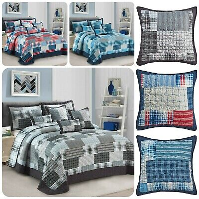£29.99 • Buy 3 Piece Patchwork Bedspread Quilted Throw Double & King Size Printed Bedding Set