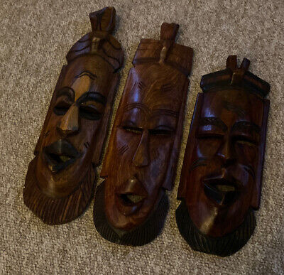 3 X African Hand Carved Tribal Masks • 3.50£
