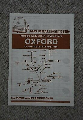 1984 National Express Coach Service Publicity Timetable Leaflet - Oxford • 1.25£