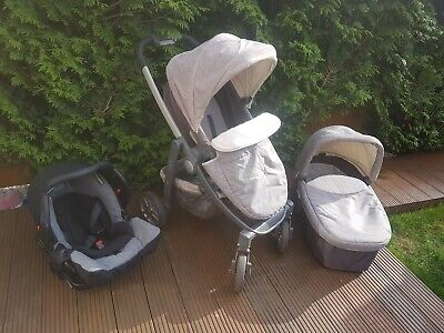 Graco EVO Avant Grey Travel System 3 In 1 Pushchair, Car Seat Carry Cot  • 100£
