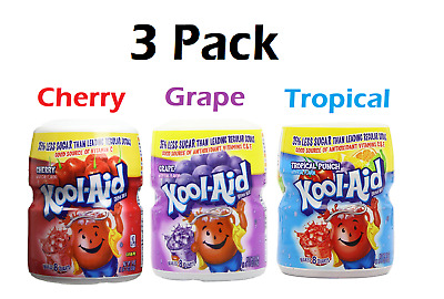 Kool Aid Cherry, Grape & Tropical Punch 538g Tub - 3 Pack US Import *UK SELLER* • 24.99£