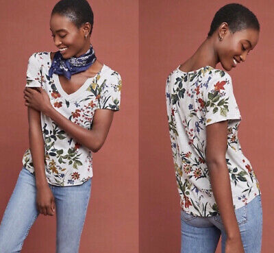 $ CDN31.84 • Buy Maeve Anthropologie V Neck Floral Tee Shirt Gray Small