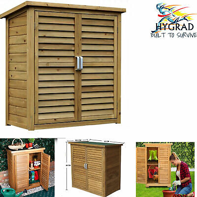Large Portable Wooden Outdoor Garden Cabinet Shed Shelf Cupboard Storage Tools • 129.99£