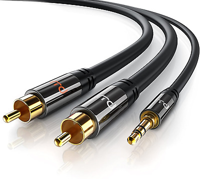 2m HQ 3.5mm Mini Stereo Jack To 2 X RCA Twin Phono Cable Lead GOLD PC TV Aux New • 6.99£