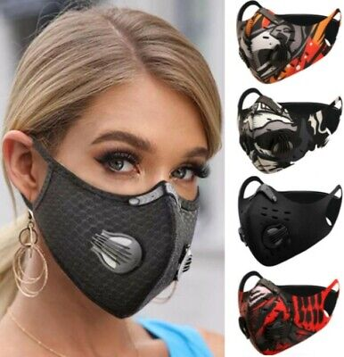Face Mask Washable Reusable Anti Pollution PM2.5 Two Air Vent With Filter UK • 3.95£