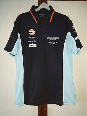 Team Issue Aston Martin Le Mans Hackett Polo Shirt Size Medium Gulf Vantage GTE • 24.99£