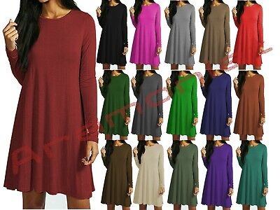 £9.99 • Buy Womens Long Sleeve Plain Swing Dress Ladies Flared Cocktail Dresses Size 8 To 26