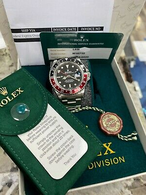 $ CDN15673.26 • Buy Rolex GMT Master II 16710 Red And Black Coke Stainless Steel Service Paper & Box