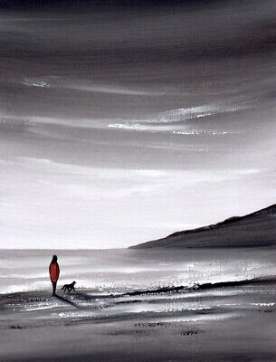 WATERCOLOUR PAINTING SEASCAPE, Beach Walk, Sea, Lady And Dog, Sarah Featherstone • 12£