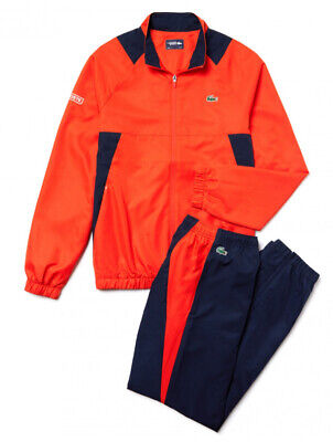 Lacoste Sports Tracksuit Mens Size-Xs Orange And Navy Top And Bottoms FR 2 • 190£