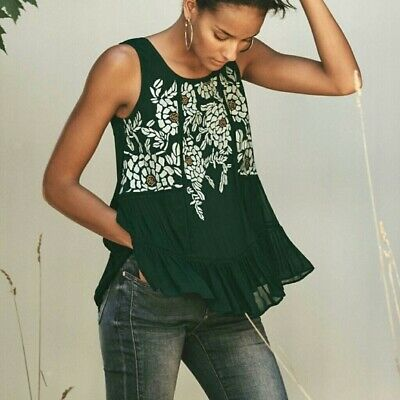 $ CDN32.57 • Buy Anthropologie Floreat Roselle Tank Green Top Embroidered Lace Ruffle New XS