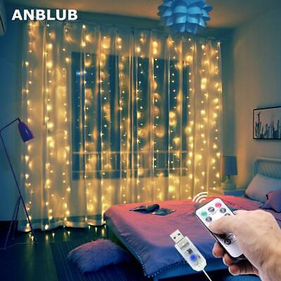 3M LED Curtain Garland On The Window USB String Lights Fairy Festoon Remote Cont • 8.13£