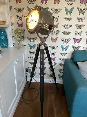 Nautical Style Floor Standing Tripod Lamp - Silver With Black Wooden Legs • 21£