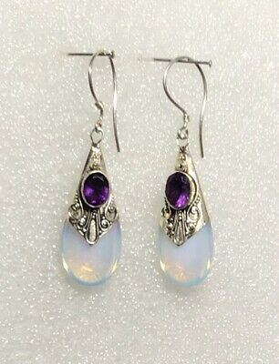 925 Sterling Silver Earrings, Amethyst , Opaline, Short Drop, Hook • 11£