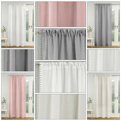 TAHITI Plain Pom Pom Edge Trim Voile Net Curtain Slot Top Voile Single Panel • 14.99£