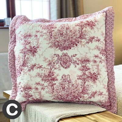 £14.95 • Buy Luxury Pure Cotton Pink 55cm Square Cushion Cover Quilted French Toile Floral