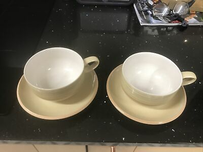Two Denby Caramel Stripes Coffee Cups And Saucers • 4£