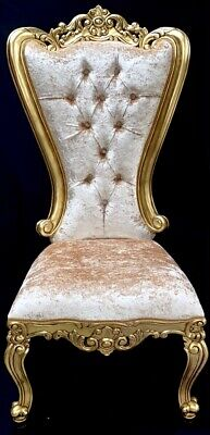 Pair X Large Ornate Side Chair Gold Leaf Barley Crush Home Wedding Throne Stage  • 1,350£