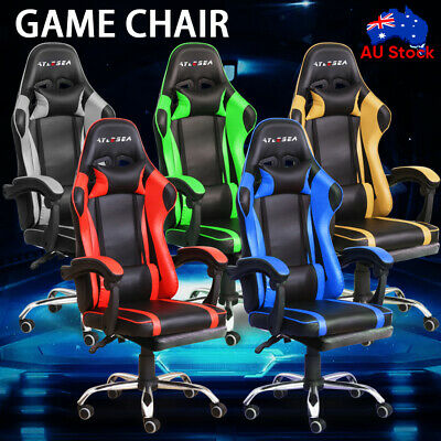 AU118.59 • Buy Executive Office Computer Gaming Chair Racer Recliner Chairs PU Leather Seat