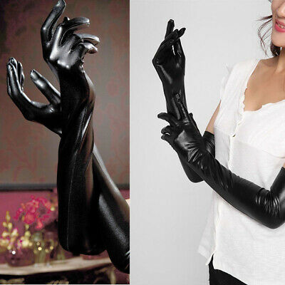 Adult Sexy Long Latex Gloves Cosplay Faux Leather Gloves Clubwear  Accessories • 4.65£