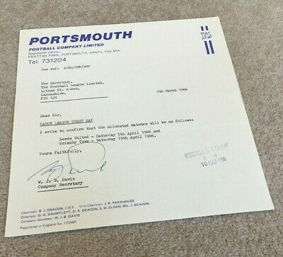 £5.99 • Buy 1986 Portsmouth FC Original Letter On Headed Paper As Sent To FA, HAND SIGNED