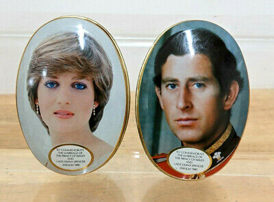 Pair Of Charles & Diana 1981 Royal Wedding Collectable Small Tins - The Crown • 1.99£