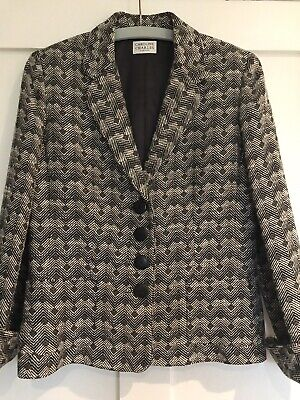 Caroline Charles Fitted Black And Cream Wool Jacket Size 12 • 8£