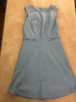 £5 • Buy Villa Clothing Blue Faux Leather Dress Two Front Gold Zips And Back Zip