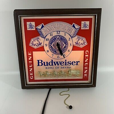 $ CDN38.91 • Buy Budweiser Vintage 1981 Pull-Chain Lighted Wall Clock Beer Sign Clydesdales READ