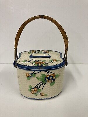 £19.99 • Buy Vintage Hand Painted Porcelain Japanese Oriental Floral Tea Caddy With Handle