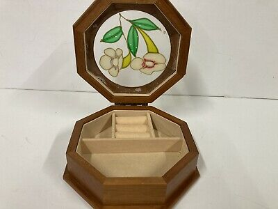 Wooden Stained Glass Hinged Jewellery Box With Velvet Interior Rings Earrings  • 8.99£