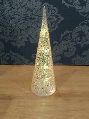 Light Up Glass Holographic Christmas Tree Ornament 26cm Tall • 11.90£