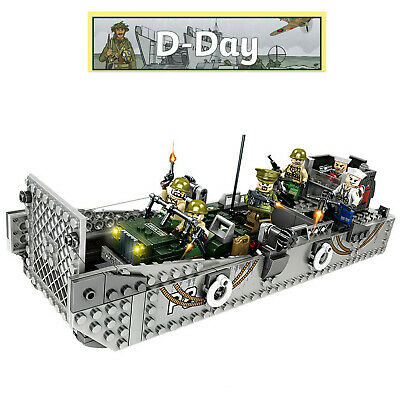 WW2 Military Landing Craft Boat + Army Jeep Truck + Soldiers Normandy Fit Lego • 24.99£