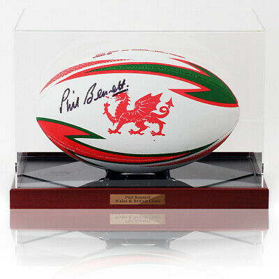 £149 • Buy Phillip Bennett OBE Hand Signed WRU Rugby Union Ball WALES Photo AFTAL COA