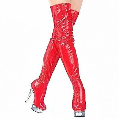 Top Totty Sexy Stiletto Platform Red Patent High Thigh  Lapdancing Zipper Boots • 59.99£